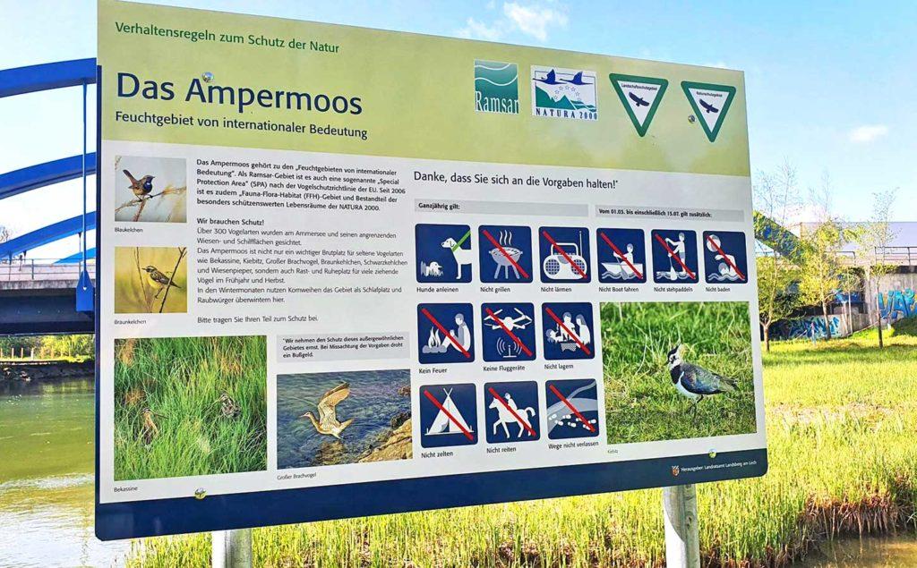 Schild Naturschutz Ampermoos